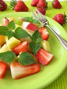 Fruit salad with honey melon sage Royalty Free Stock Photo