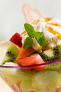 Fruit Salad with Ice Cream,kiwi,strawberry,papaya Royalty Free Stock Photo