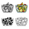 Fruit salad icon in cartoon style isolated on white background. Sport and fitness symbol stock vector illustration.