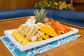 Fruit salad a large tropical platter Stock Photos
