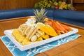 Fruit salad a large tropical platter Stock Photos