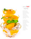 Fruit salad and orange juice on white with sample text isolated Royalty Free Stock Photos