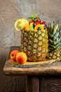 Fruit salad in pineapple Royalty Free Stock Image