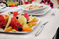 Fruit salad and spaghetti carbonara Royalty Free Stock Image