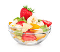 Fruit salad in take away cup on white background Royalty Free Stock Image