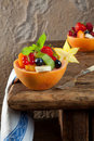 Fruit salad on vintage table Royalty Free Stock Image