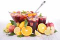 Fruit sangria punch and fruits Stock Photo