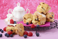 Fruit Scones with berries and cream Royalty Free Stock Photo