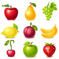 Fruit set of glossy icons Royalty Free Stock Images