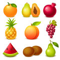 Fruit set of glossy icons Royalty Free Stock Photography