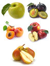 Fruit set with water drops on a white background Stock Image