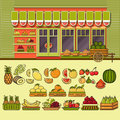 Fruit shop facade and set of cute colorful food icons.