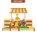 Fruit shop illustration isolated on white backgroun for web and moible design