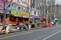 Fruit shop and street scene Shanghai, China