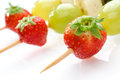 Fruit skewers , close-up Royalty Free Stock Images