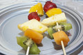 Fruit skewers mixed fruits on close up Royalty Free Stock Image