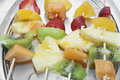Fruit skewers mixed fruits on close up Royalty Free Stock Photos