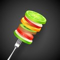 Fruit Slice in Fork Royalty Free Stock Photo