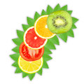 Fruit slices slice of orange grapefruit lemon tomato and kiwi on a white background Royalty Free Stock Photo