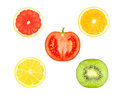 Fruit slices slice of orange grapefruit lemon tomato and kiwi on a white background Stock Photography