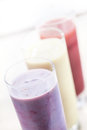 Fruit smoothies or milkshakes Royalty Free Stock Images