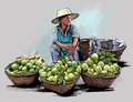 Fruit street vendor in bangkok thailand vector illustration of a Royalty Free Stock Image