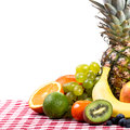 Fruit on tablecloth textile space in the background Royalty Free Stock Photos