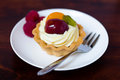 Fruit tart with pudding and fresh fruits Royalty Free Stock Photography
