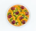 Fruit tart top view cake on a plate white background Royalty Free Stock Images