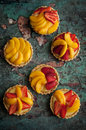 Fruit tarts strawberry and peach mini Royalty Free Stock Photography