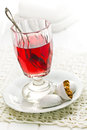 Fruit tea with icing gingerbread on white saucer Royalty Free Stock Photos