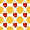Fruit texture vector seamless with oranges and strawberries Stock Photo
