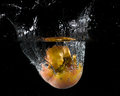 Fruit thrown in water launched various fruits Stock Photos