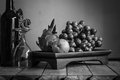 Fruit tray with black and white. Royalty Free Stock Photo