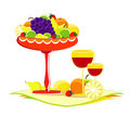 Fruit in vase with glass of wine Stock Photos