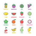Fruit vector line icons with flat colors