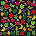 Fruit and vegetable background colorful vector Royalty Free Stock Photo