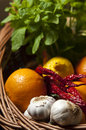 Fruit and vegetable basket display with a with fresh vegetables Royalty Free Stock Photography