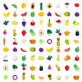 Fruit vegetable berry mushroom plants vector flat food icon Royalty Free Stock Photo