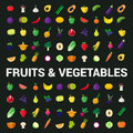 Fruit vegetable berry mushroom plants vector flat food icons Royalty Free Stock Photo