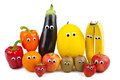 Fruit and vegetable family various vegetables posing in front of the camera Stock Photos