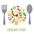 Fruit vegetable healthy food cook ingredient nutrient cute cartoon vector design Royalty Free Stock Images