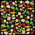 Fruit Vegetable Healthy Food Cook Ingredient Nutrient cute cartoon vector