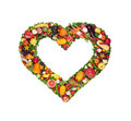 Fruit and vegetable heart Stock Images