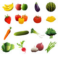 Fruit and vegetable icons a vector illustration of Stock Photos