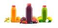 Fruit and Vegetable Juice Bottles on White Background Royalty Free Stock Photo