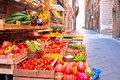 Fruit and vegetable market in narrow Florence street Royalty Free Stock Photo