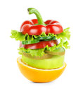 Fruit and vegetable stack Royalty Free Stock Photo