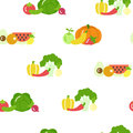 Fruit and vegetable vector seamless pattern in flat style on white background. Healthy food design.