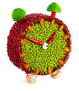 Fruit and vegetable volume clock on a white background Royalty Free Stock Photo